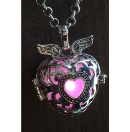 Winged Pink Heart Glowing Orb Pendant Necklace Locket Antique Silver
