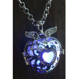 Winged Blue Heart Glowing Orb Pendant Necklace Locket Antique Silver