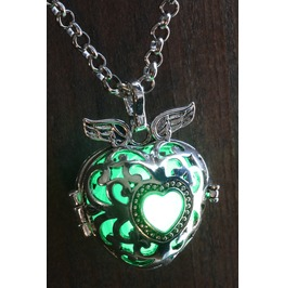 Winged Green Heart Glowing Orb Pendant Necklace Locket Antique Silver