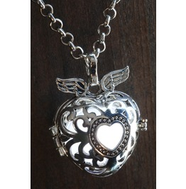 Winged White Heart Glowing Orb Pendant Necklace Locket Antique Silver