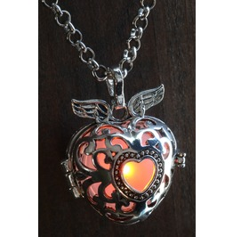 Winged Orange Heart Glowing Orb Pendant Necklace Locket Antique Silver