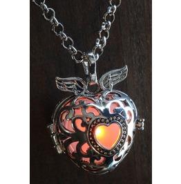 Winged Orange Heart Glowing Orb Pendant Necklace Locket Antique Silver
