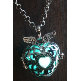 Winged Teal Heart Glowing Orb Pendant Necklace Locket Antique Silver