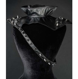 Black Faux Leather Spike Studded Metal Industrial Neck Harness $5 To Ship
