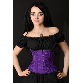 Steel Boned Purple Brocade Underbust Corset $5 Worldwide Shipping
