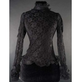 Black Long Sleeve High Collar Lace Blouse Victorian Vampire Top $9 To Ship