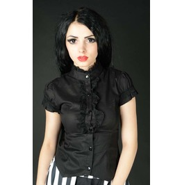 Black Corset Back Short Sleeved Blouse Victorian Vampire Top $9 To Ship