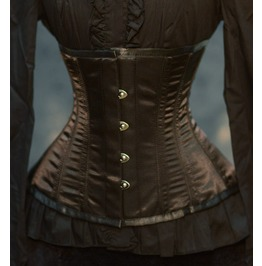 Steel Boned Brown Satin Steampunk Corset Waist Cincher $5 To Ship Anywhere
