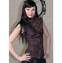Black Brown Stripe Goth Victorian Steampunk Ruffle Blouse Shirt $9 To Ship