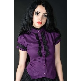 Black Purple Short Sleeved Corset Blouse Victorian Vampire Top Free To Ship