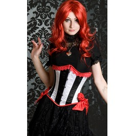 Steel Boned Black White Red Underbust Burlesque Corset $9 To Ship Worldwide