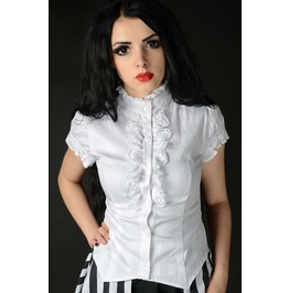 White Short Sleeved Lolita Corset Blouse Victorian Vampire Ruffle Top