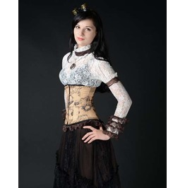 White Long Sleeve High Collar Lace Blouse Victorian Steampun Top $9 To Ship