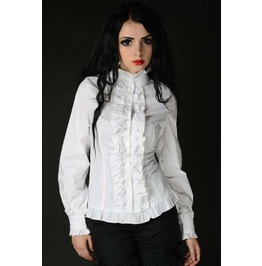 White Victorian Vampire Ruffle Blouse Corset Shirt For Cinchers $9 To Ship