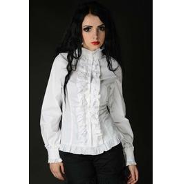 White Victorian Vampire Ruffle Blouse Corset Shirt For Cinchers $9 To Ship