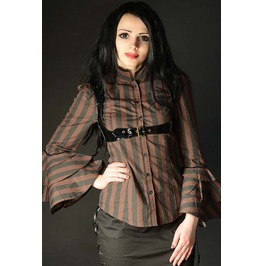 Black Brown Striped Victorian Blouse Steampunk Pvc Harness Top $9 To Ship