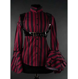 Black Red Striped Victorian Pirate Blouse Gothic Pvc Harness Top $9 To Ship