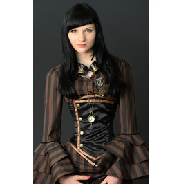 Steel Boning Black Copper Steampunk Underbust Corset $6 To Ship Anywhere