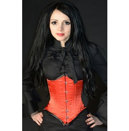 Steel Boned Dramatic Pointed Red Victorian Burlesque Underbust Corset