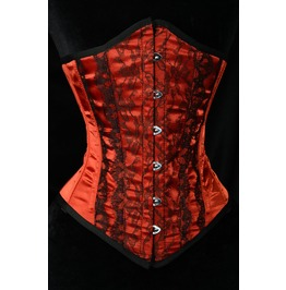 Steel Boned Red Black Pointed Lace Underbust Corset $6 Worldwide Shipping