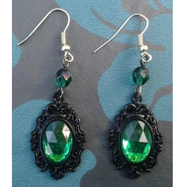Gothic Steampunk Victorian Green Jewel Drop Bead Earrings