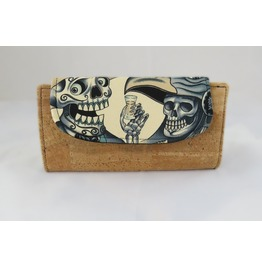 Sugar Skull Tequila Guy Blue Tattoo Fiona Wallet With Cork Accents