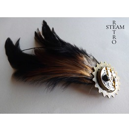Steampunk Brooch Mechanism Brooch Feathered Brooch Steampunk Jewelry