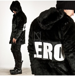 """Zero"" Lettering Leather Contrast Fur Hood Coat 95"