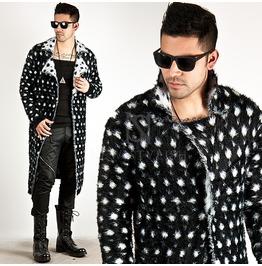 Dot Pattern Soft Fur Black Long Coat 96