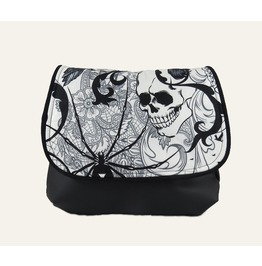 Black And White Goth, Skull And Black Widow Spider Kelsi Ii Cross Body