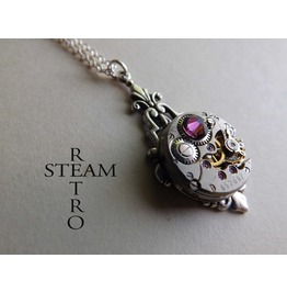 Art Deco Steampunk Amethyst Necklace Steampunk Jewellery Steampunk Necklace