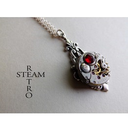 Art Deco Steampunk Red Necklace Steampunk Jewellery Steampunk Necklace