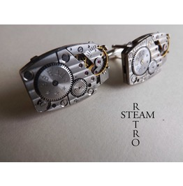 Steampunk Cufflinks Vintage Russian Pinstripe Mens Steampunk Jewelry Watch