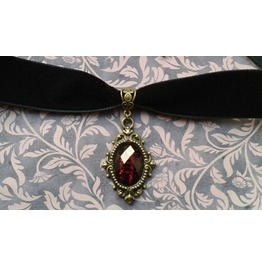 Gothic Victorian Steampunk Black Velvet Black/Red Jewel Filigree Choker
