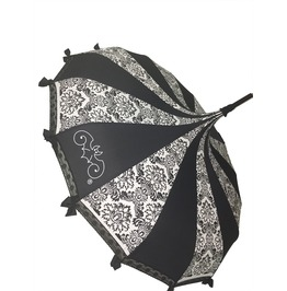 Pagoda Shaped Umbrella B/W Damask W/ Lace, Bows And A Hook Handle