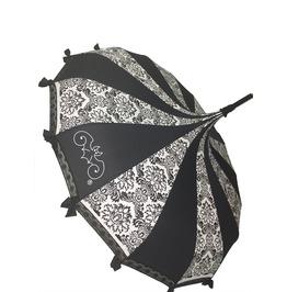 Pagoda Shaped Umbrella B/W Damask W/ Lace, Bows And A Hook Handle