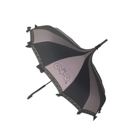 Hilary's Vanity Pagoda Shaped Umbrella Blk/Gry W/Lace,Bows & A Hook Handle