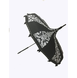 Hilary's Vanity Pagoda Shaped Umbrella Bat Damask W/ Lace, & Bows