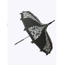 Hilary's Vanity Pagoda Shaped Umbrella Bat Damask W/ Lace, & Bows