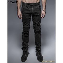 Black Gothic Punk Armor Knee Jeans For Man