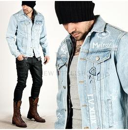 Multiple Lettering Accent Light Blue Classic Slim Denim Jacket (Heart)
