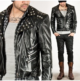 Multiple Stud Accent Tight Fit Black Thin Leather Jacket 181