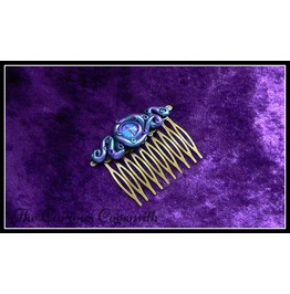 Blue & Green Lovecraft Inspired Tentacle & Eye Hair Comb