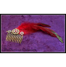 Red Feather Steampunk Hair Comb With Cogs And Rhinestone Detail