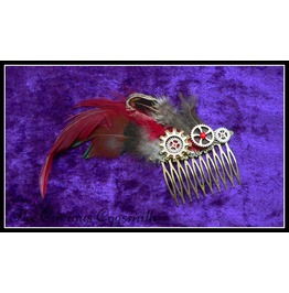 Red & Brown Feather Steampunk Hair Comb With Cogs And Rhinestone Detail