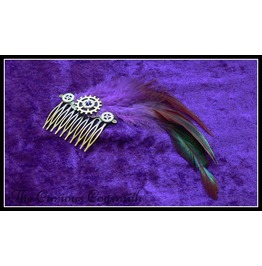 Purple Feather Steampunk Hair Comb With Cogs And Rhinestone Detail
