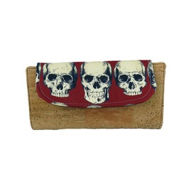 Rad Skulls In Red Fiona Wallet With Cork Accents