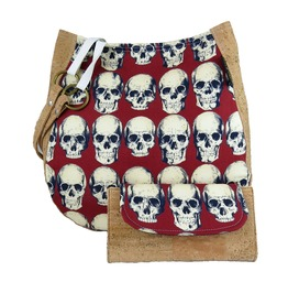 Rad Skulls In Red Charla Cork Purse With Cork Wallet