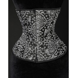 Steel Boned Black Silver Jacquard Underbust Corset $6 To Ship Anywhere