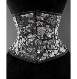 Steel Boned Black Silver Dragon Brocade Waist Cincher $6 Worldwide Shipping